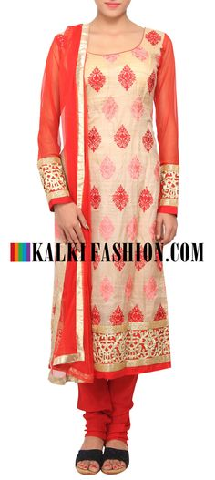 Buy Online from the link below. We ship worldwide (Free Shipping over US$100) http://www.kalkifashion.com/red-and-beige-coloured-resham-salwar-suit-with-dupatta-only-on-kalki.html