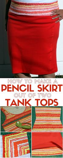 Sew a comfortable pencil skirt with foldover waistband from two tank tops. A simple DIY craft tutorial idea that is perfect for beginner sewers.