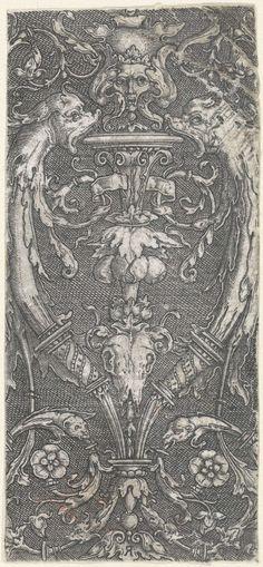 Vlakdecoratie, kandelaber met een dierenschedel, Monogrammist R (graveur), Lucas van Leyden, Anonymous, 1500 - 1600