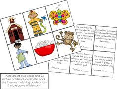 Matching inference riddles with pictures. Play as a memory game or just match them up!