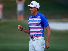 Rickie Fowler celebrates as he wins the playoff in the final round of The 2015 Players Championship at the TPC Sawgrass Stadium course