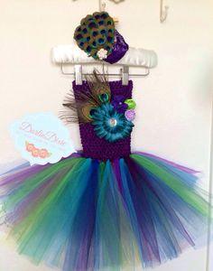 Peacock Tutu Dress and Headband Set by DarlinDixie on Etsy, $65.00