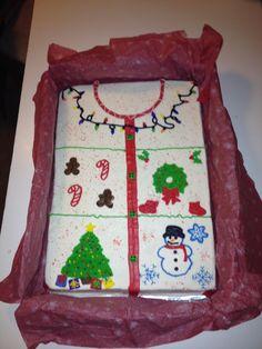 Ugly Christmas sweater sheet cake