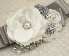 Bridal Sash Wedding Sash in White Silver and Ivory by SolBijou