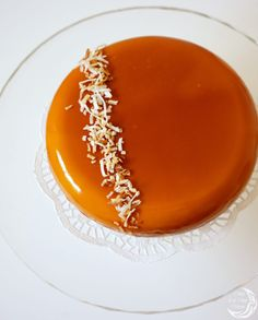 """Entremet Cake """"Tropical Kiss"""" - Once in a blue moon. Coconut Mousse, Coconut Jelly, Baking Recipes, Cake Recipes, Dessert Recipes, Party Desserts, Mini Desserts, Mango Jelly, Kisses Recipe"""