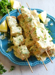Fish Kabobs are wonderful to cook on the grill served with the amazing Garlic Parmesan Cream Sauce.