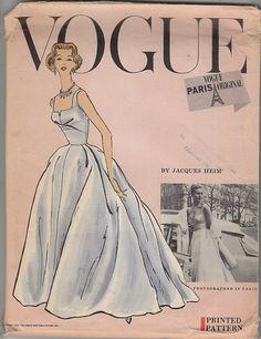 Vintage 50s Uncut Jacques Heim Bridal Gown Pattern 14~Vogue Paris Original 1343