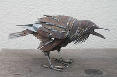 Scrap Metal Sculpture, Life-size Raven, Unique Art Work, Reclaimed Steel Art, Scrap Metal Bird - Top Of The World Do Pi Ke Metal Tree Wall Art, Scrap Metal Art, Metal Artwork, Tree Artwork, Art En Acier, Metal Animal, Welded Art, Sculpture Metal, Tree Sculpture