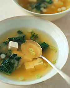 Miso Soup with Tofu and Kale - Kale, ginger, garlic, and soybeans, in the form of miso and tofu, combine to lend flavor and nutrients to a delicate soup. This soup is brimming with soy, an excellent source of protein as well as antioxidants. Kale, a cruciferous vegetable, is high in vitamins A and C, folic acid, calcium, and iron.