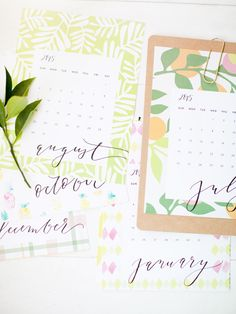 Beautiful free printable calendar 2015 with hand lettering & watercolors