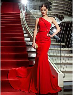 TS Couture® Formal Evening / Military Ball Dress - Vintage Inspired Plus Size / Petite Trumpet / Mermaid One Shoulder Sweep / Brush Train Chiffon – USD $ 116.99
