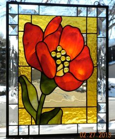 Poppy Stained Glass Panel - Delphi Artist Gallery