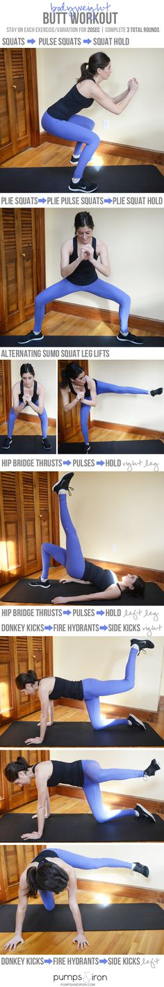 Bodyweight Butt Workout -- takes 20 minutes and is a great one to do at home (no equipment needed!)