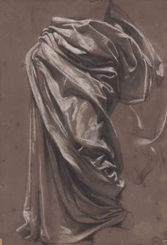 Black chalk, white chalk and stumping on brown paper, x cm Drapery Drawing, Fabric Drawing, Painting & Drawing, Life Drawing, Figure Drawing, Art Sketches, Art Drawings, Random Drawings, Trois Crayons