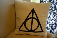 Harry Potter Deathly Hallows Pillow. $20.00, via Etsy.