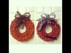 In this video I walk you through the steps to make an easy Halloween and Thanksgiving Felt Flower wreath with interchangeable bows! Welcome to my channel! I ...