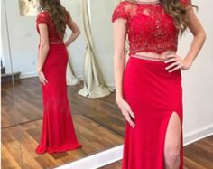 37ed9f64d08 Charming Spandex Jewel Neckline Cap Sleeves Two-piece Sheath Column Prom  Dress With Beaded Lace Appliques