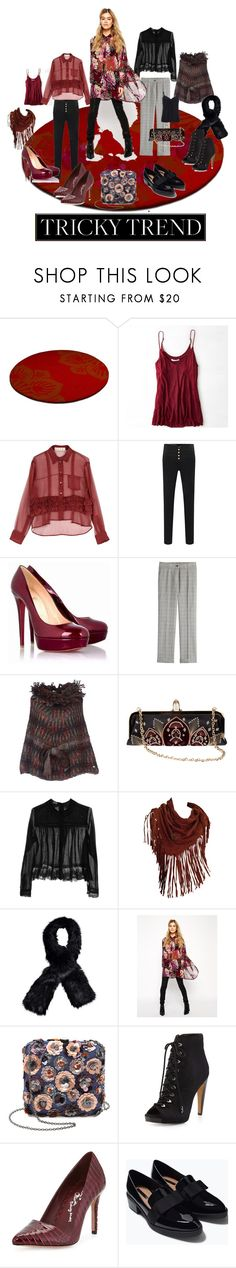 """""""TRICKY TREND THE SHEER BLOUSE"""" by dawn-lindenberg ❤ liked on Polyvore featuring American Eagle Outfitters, Christian Louboutin, Etro, Meadham Kirchhoff, Henry Beguelin, Boohoo, ASOS, Santi, Sam Edelman and Alice + Olivia"""