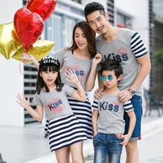 $15.96 Korean Style Family Sets Striped Print Tee And Casual Dress #onlineshopping #onlinefashion #koreanstyle #casualdress #cheapclothing
