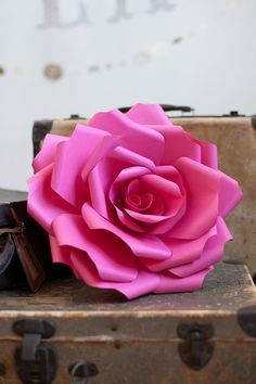 FUCHSIA giant paper WALL ROSE - wall art paper sculpture - Flower Taxidermy No.12 via Valerie Paperie on Etsy. Great Valentine gift!