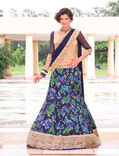 97dd1ecdf03 Buy online navy blue colored brocade and net fish cut designer lehenga choli.  This beautiful fish cut designer lehenga choli is enriched with floral  print ...