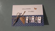 Süße Karte zur Geburt oder Taufe! Einfach Wunschnamen mitteilen! Verschiedene Sprüche möglich, ins Herz kann das Geburtsdatum reingeschrieben werden... - wird mit Umschlag und Schutzfolie...