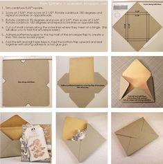 Paper Loves Glue: Envelope Tutorial for Embellished Cards (standard cards, x… Tutorial Envelope, Envelope Diy, How To Make An Envelope, Envelope Punch Board, Card Making Tutorials, Card Making Techniques, Card Envelopes, Making Envelopes, Card Templates