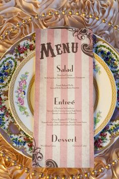Wedding menu - This In Gold and Ivory or Purple and Ivory would be really cute!