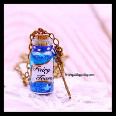 Fairy Tears Tinker Bell Necklace  Royal Blue by tranquilityy