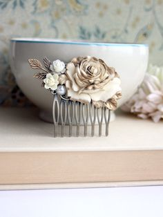 Shabby Antiqued Ivory Gold Tipped Rose Hair Comb. by Marolsha, $28.00
