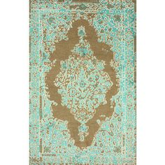Ivana Wool and Viscose Area Rug in Turquoise design by NuLoom