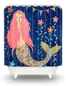 Sascalia Pink Mermaid Shower Curtain