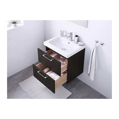 """GODMORGON / ODENSVIK Sink cabinet with 2 drawers - black-brown, 23 5/8x19 1/4x25 1/4 """" - IKEA"""