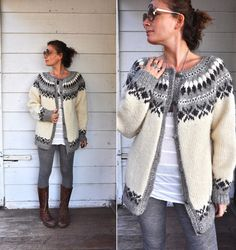 Chunky Wool Vintage Sweater Cardigan Unisex by LaDeaDeiSogni, $110.00