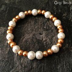Gesgi Beads Bracelet Gold White GBGW9 « Gesgi Beads