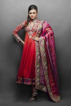 Orange & Red Shaded Ethnic Work Anarkali Suit