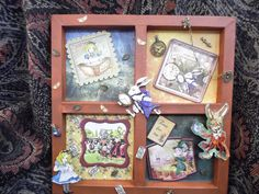 Made by Kathryn Lamb - I love Alice in Wonderland so I bought the paper-crafting booklet and cd-rom from My Craft Studio. I really enjoyed creating this shadowbox frame wall art, I painted the frame with acrylics, put decoupage layers to build the individual windows, then added a tiny glass bottle and some charms to complete the scenes.
