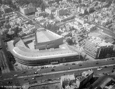 Vista aérea del Cine Las Américas, Insurgentes Sur esq. Baja California, Roma, Cuauhtémoc, México DF, 1952  Arq. José Villagrán Garcia -  Aerial view of Cine Las Americas, Insurgentes Sur, Roma, Mexico City 1952