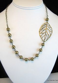 Asymmetrical Swarovski Pearl and Leaf Necklace | byBrendaElaine - Jewelry on ArtFire