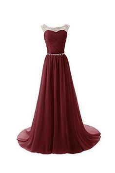 Burgundy Sweetheart Chiffon Long Prom Evening Dresses ED0675