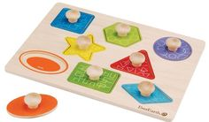 The Everearth Wooden Shape puzzle has bright, chunky wooden jigsaw pieces with knobs on to make it easy for toddlers to pick up. Hello Charlie - Everearth Shape Knob Puzzle, $15.95 (http://www.hellocharlie.com.au/everearth-shape-knob-puzzle/)