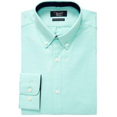 Original Penguin Men\'s Solid Slim Fit Cotton Dress Shirt - Size 15... ($35) ❤ liked on Polyvore featuring men\'s fashion, men\'s clothing, men\'s shirts, men\'s dress shirts, no color, mens slim fit shirts, mens button down collar dress shirts, mens long sleeve shirts, mens slim fit short sleeve dress shirts and mens cotton dress shirts
