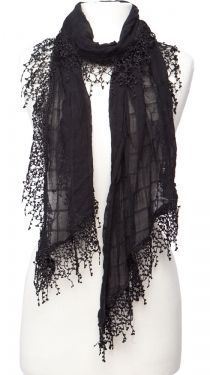 Fringed Scarf, Black