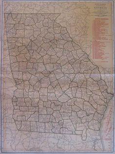 1921 Antique GEORGIA Map RARE Poster Print Size State Map of Georgia 4373