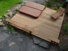 Kayu Canada's exotic Red Balau deck will provide a rejuvenating outdoor spa. Located in Calgary, Alberta. Supplied by Kayu Canada Inc.