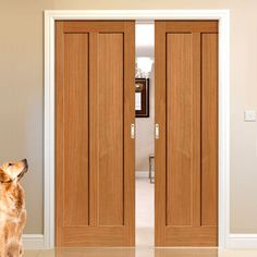 Double Pocket Montana Eiger 2 Panel Oak sliding door system in three size widths. #internaloakpocketdoor #internaloakslidingdoorpair #internaloakslidingdoors
