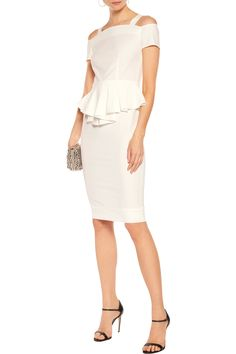 Shop on-sale Raoul Sloane cold-shoulder crepe peplum midi dress. Browse  other