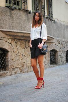 FASHIONVIBE: White Silk blouse, black skirt, red strappy sandals, black leather bag