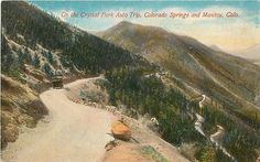 Manitou Springs, Colorado Winding Road Crystal Park Auto Trip Co 1910 Postcard