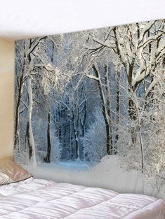 OFF] Snow Forest Trail Print Tapestry Wall Hanging Art Decoration Tapestry Nature, Room Tapestry, Mandala Tapestry, Tapestry Ceiling, Decoration Bedroom, Decoration Design, Art Decor, Room Decor, Snow Forest